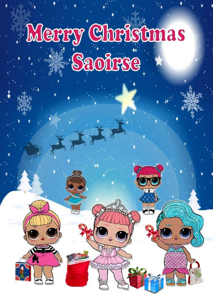 Personalised Lol Surprise Dolls Christmas Card